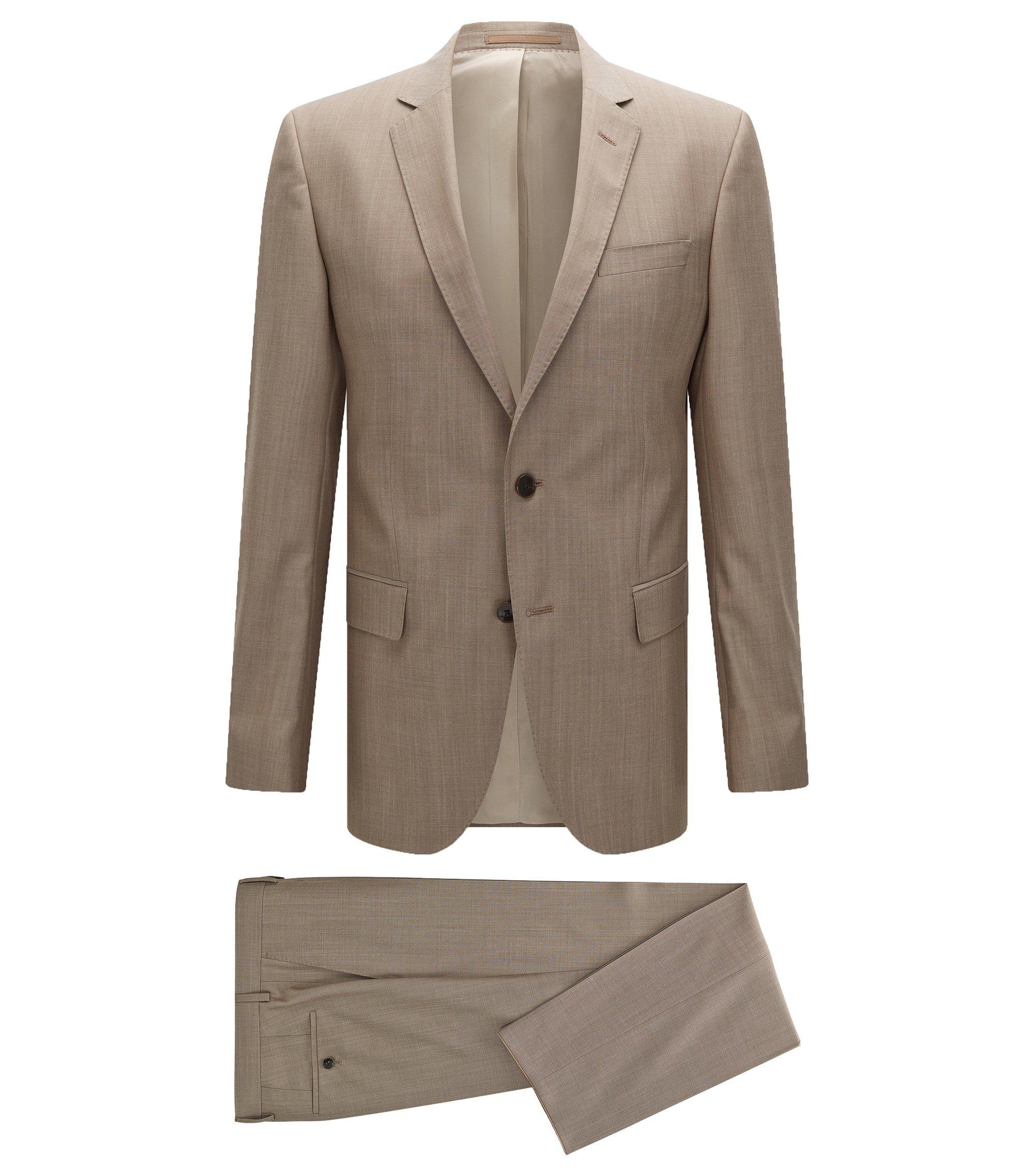 Slim-Fit Anzug aus Schurwolle mit AMF-Nähten, Beige