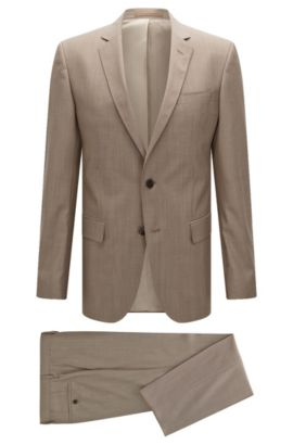 Slim-fit virgin-wool suit with AMF stitching, Beige