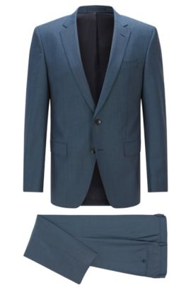 Slim-fit virgin-wool suit with stretch tailoring, Turquoise
