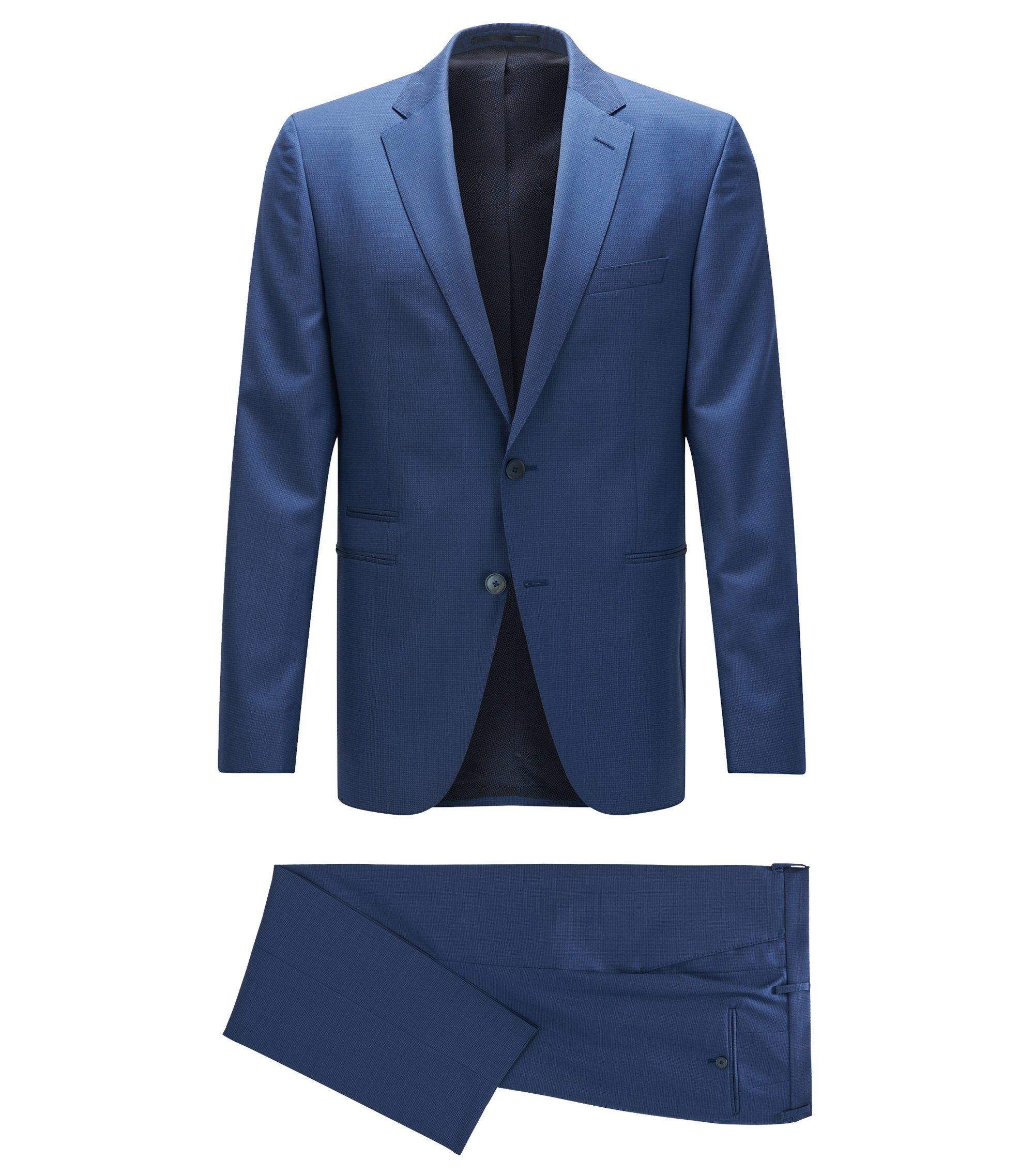 Regular-fit kostuum van scheerwol met dessin en zakken met dubbele pipingbiezen, Blauw
