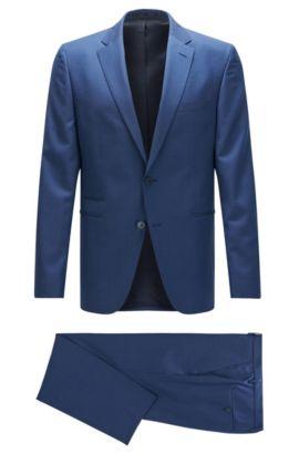 Costume Regular Fit en laine vierge à motif, avec poches à double passepoil, Bleu