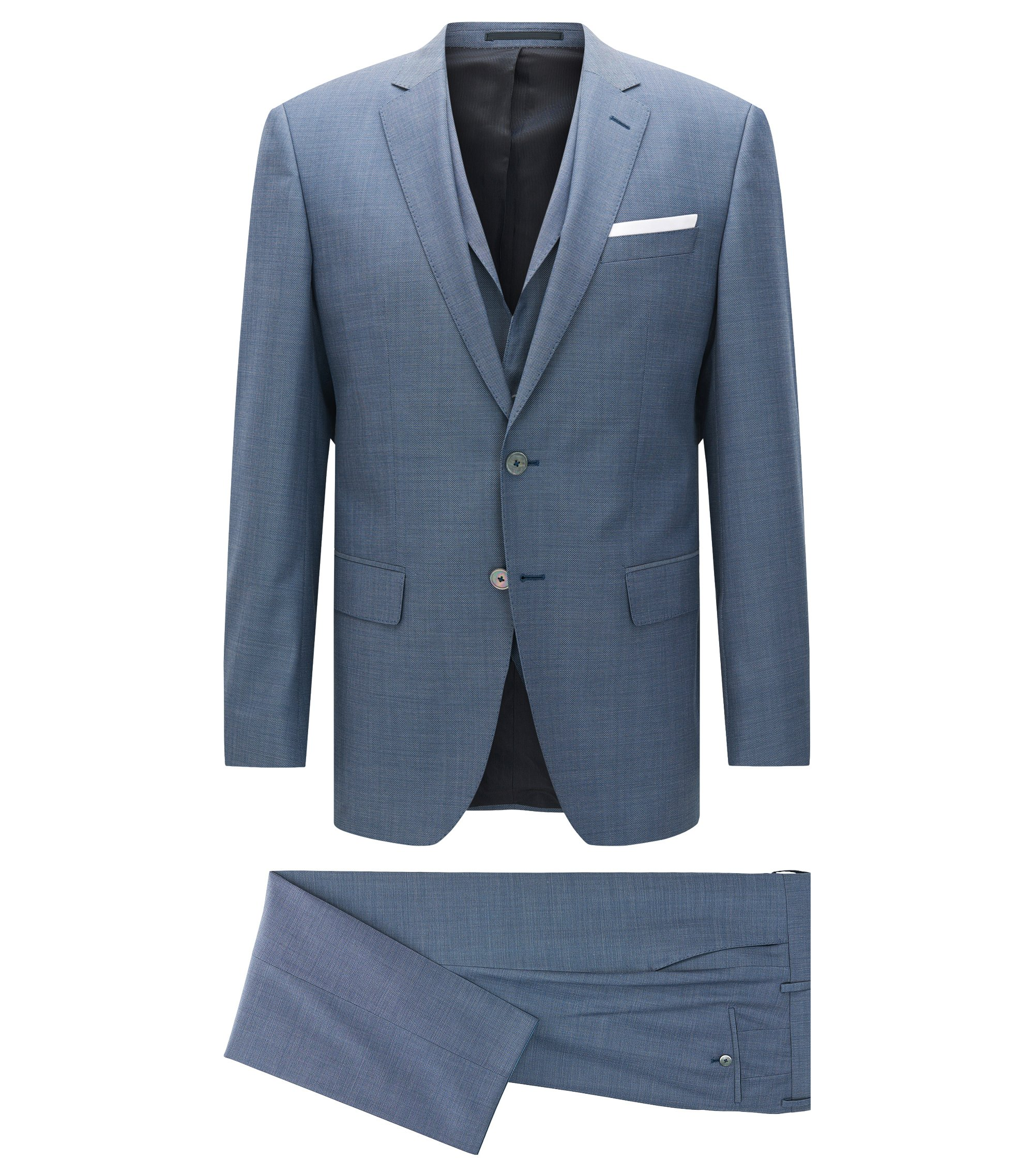 Slim-fit three-piece suit in virgin wool with pocket square, Blue