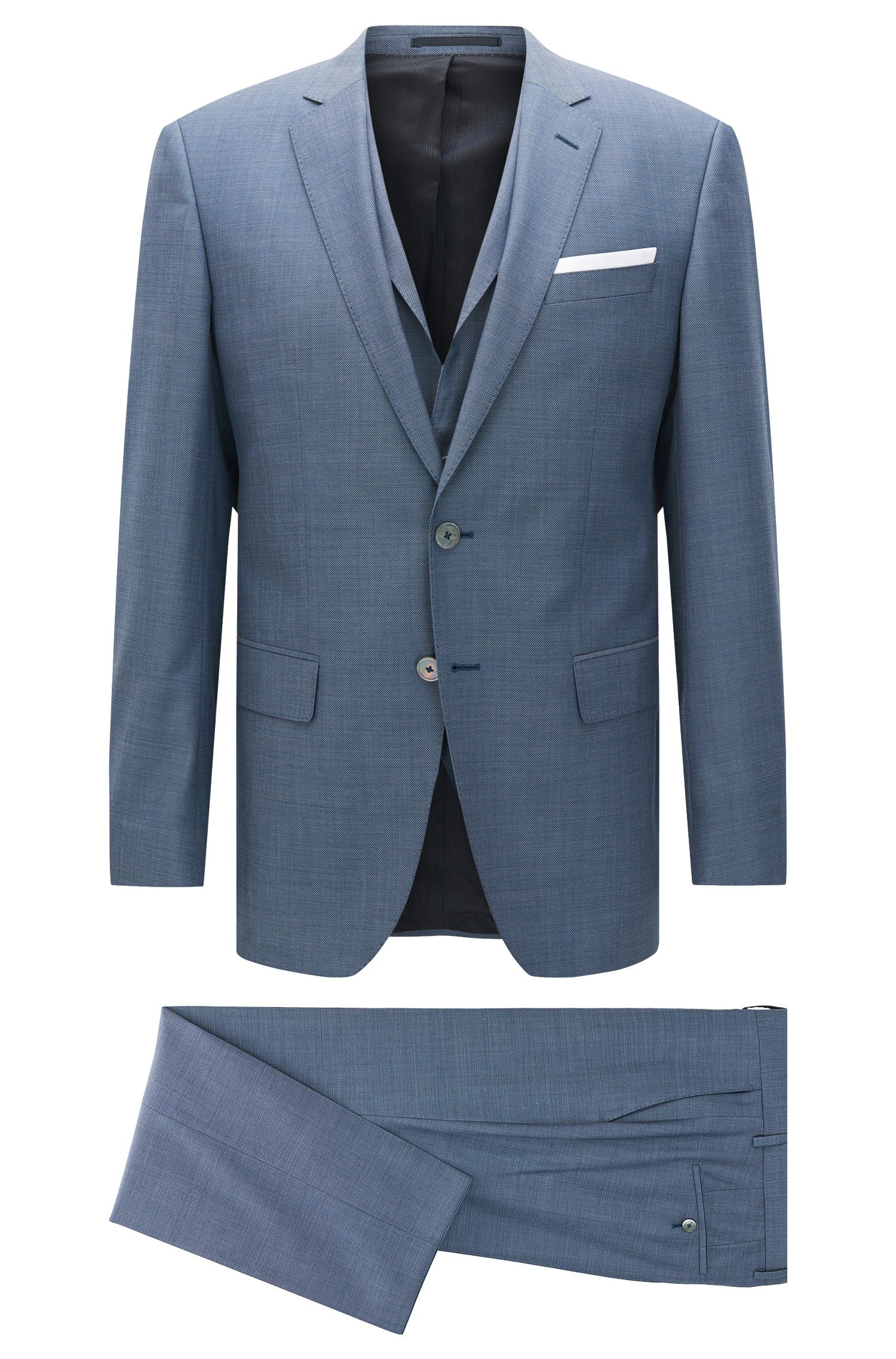 Slim-fit three-piece suit in virgin wool with pocket square