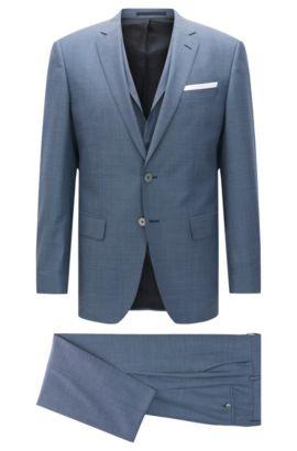 Costume trois pièces Slim Fit en laine vierge, avec pochette, Bleu
