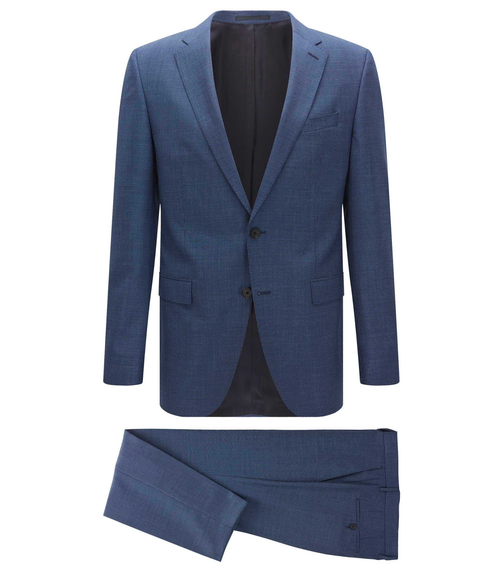 Gemusterter Slim-Fit Anzug aus Schurwolle, Blau