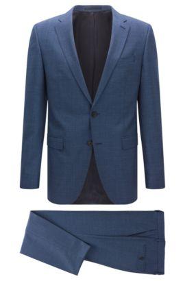 Costume Slim Fit en laine vierge à motif, Bleu