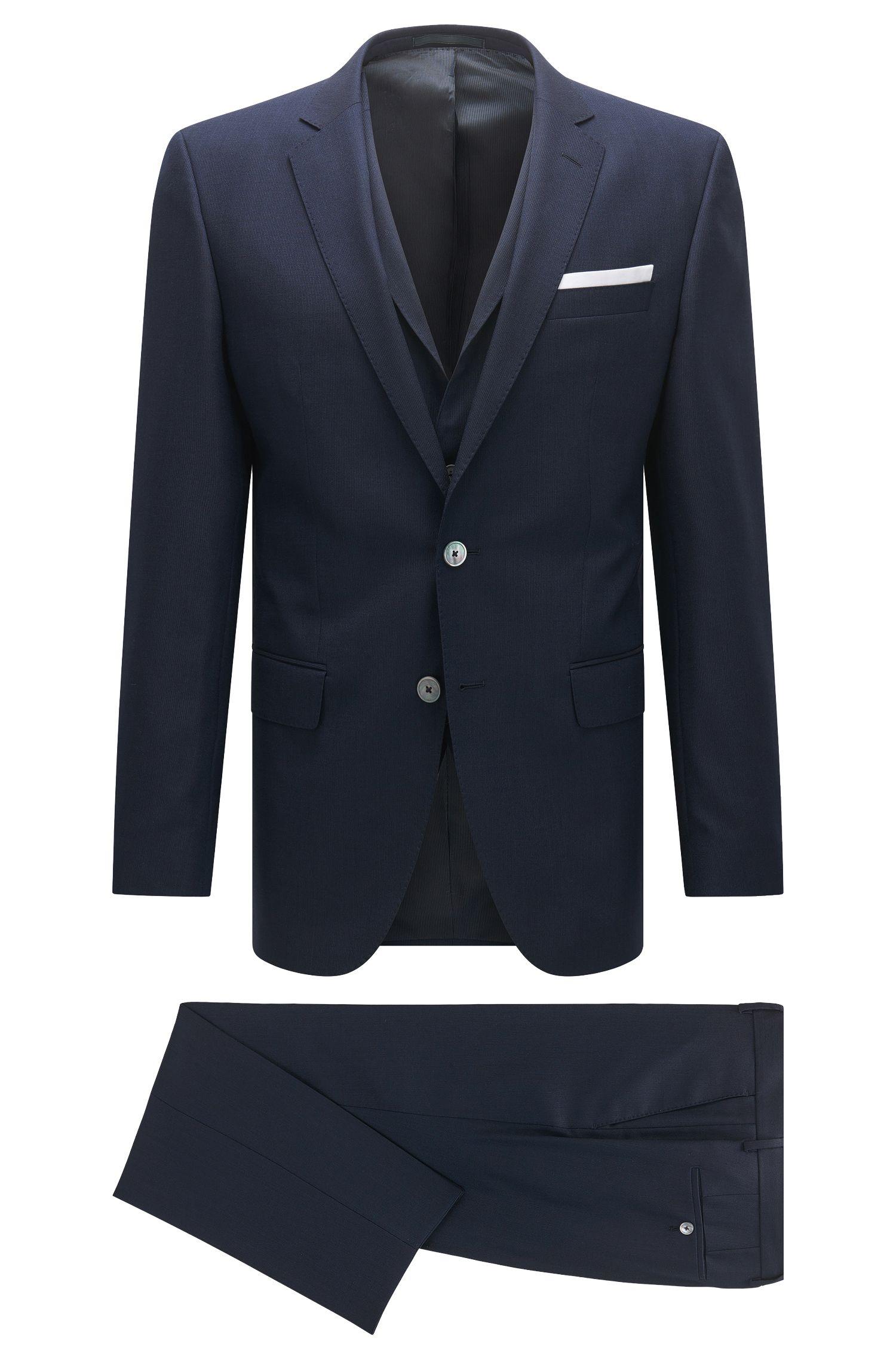 Slim-fit three-piece suit in virgin wool with knit look