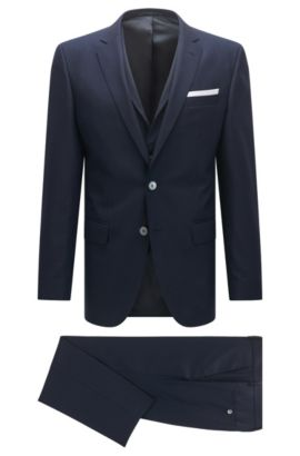 Slim-fit three-piece suit in virgin wool with knit look, Dark Blue