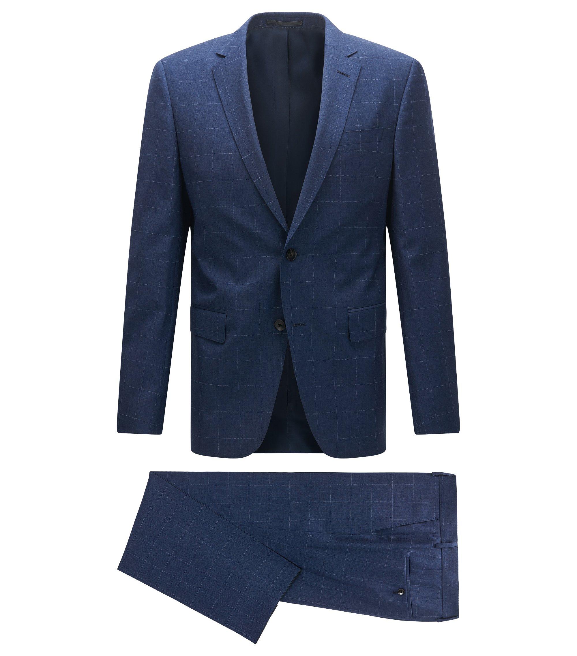 Slim-fit kostuum van geruite scheerwol, Blauw