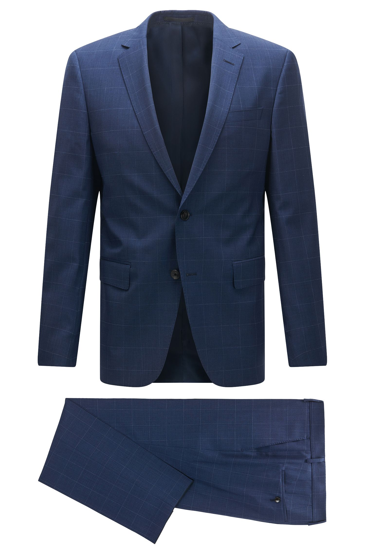 Slim-fit suit in check virgin wool