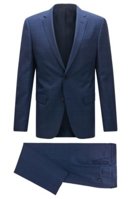 Slim-fit suit in check virgin wool, Blue