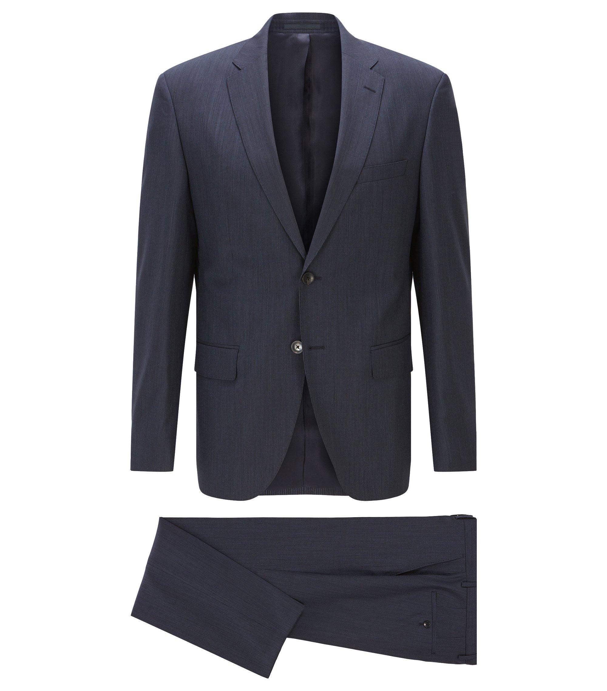 Traje regular fit en lana virgen a rayas, Azul oscuro