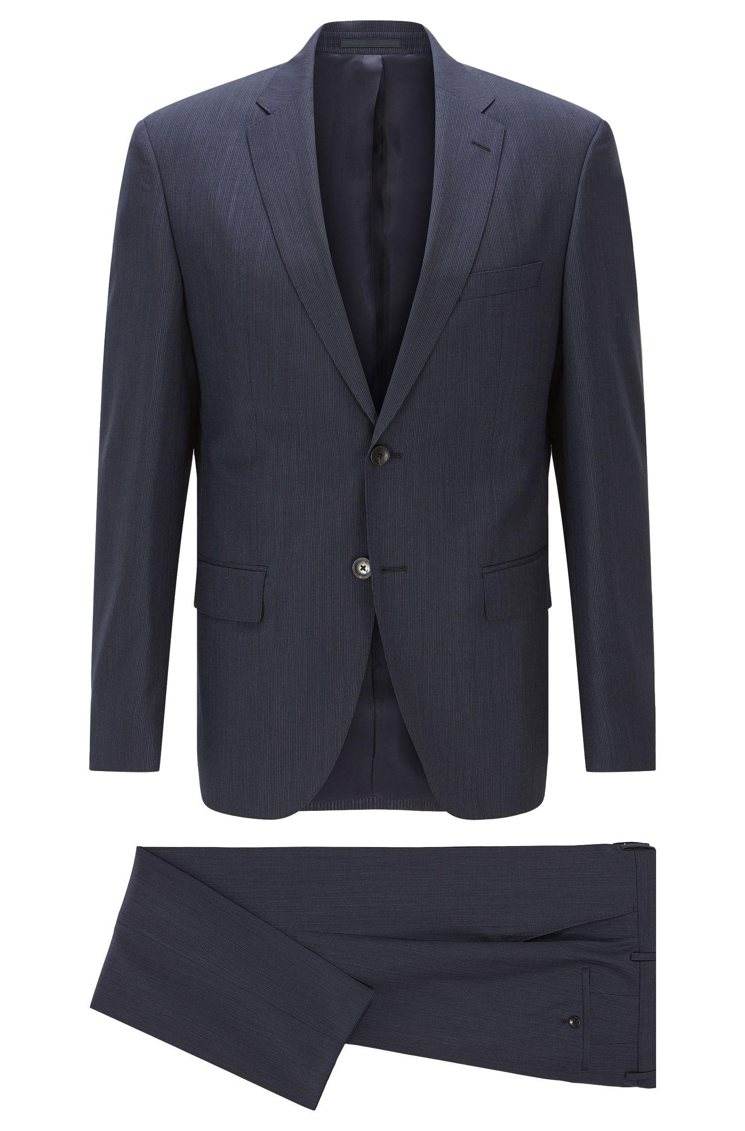 Regular-fit kostuum van gestreepte scheerwol