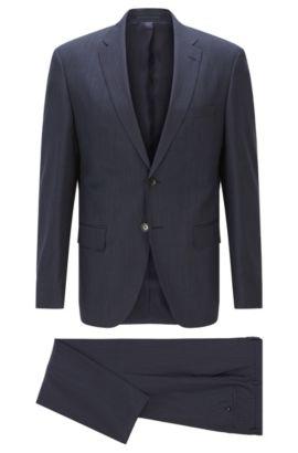 Gestreifter Regular-Fit Anzug aus Schurwolle, Dunkelblau