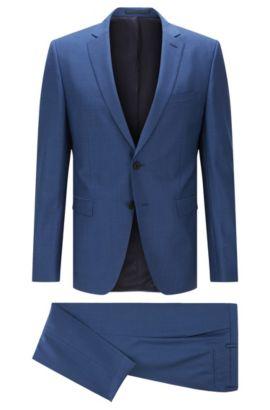 Extra slim-fit kostuum van scheerwol, Blauw
