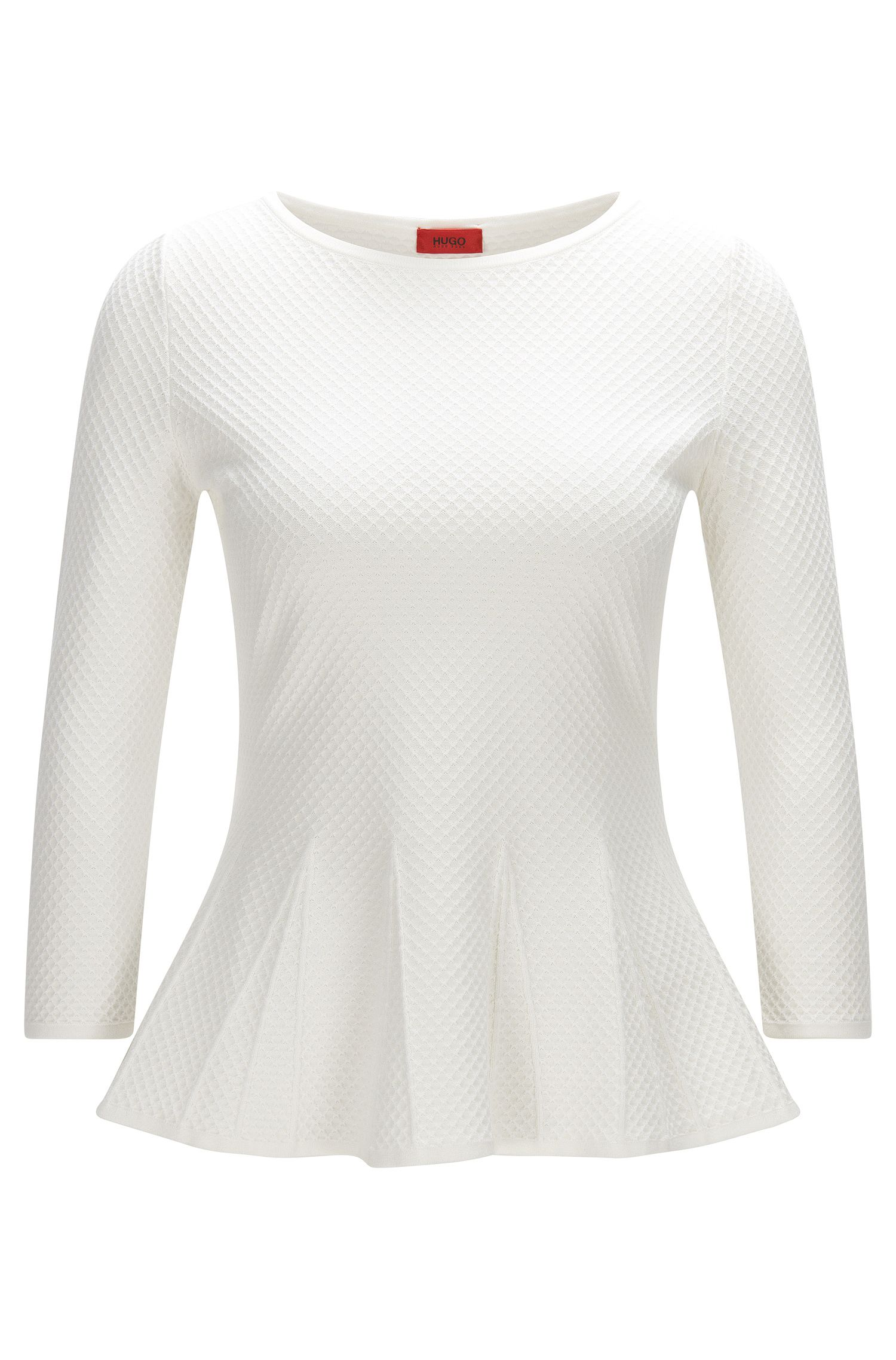 Crew-neck sweater with peplum detail