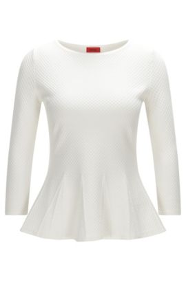 Crew-neck sweater with peplum detail, Natural