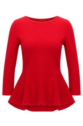 Crew-neck sweater with peplum detail, Red