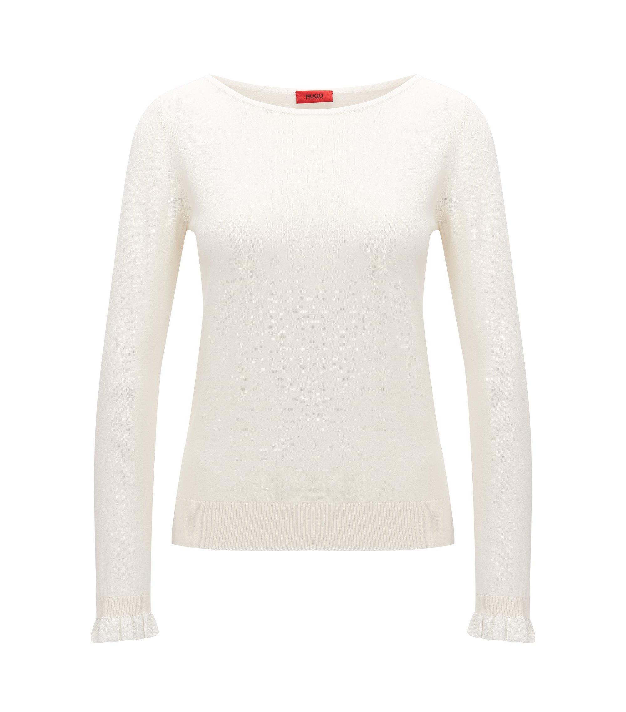Jersey de cuello redondo en seda y algodón, Natural
