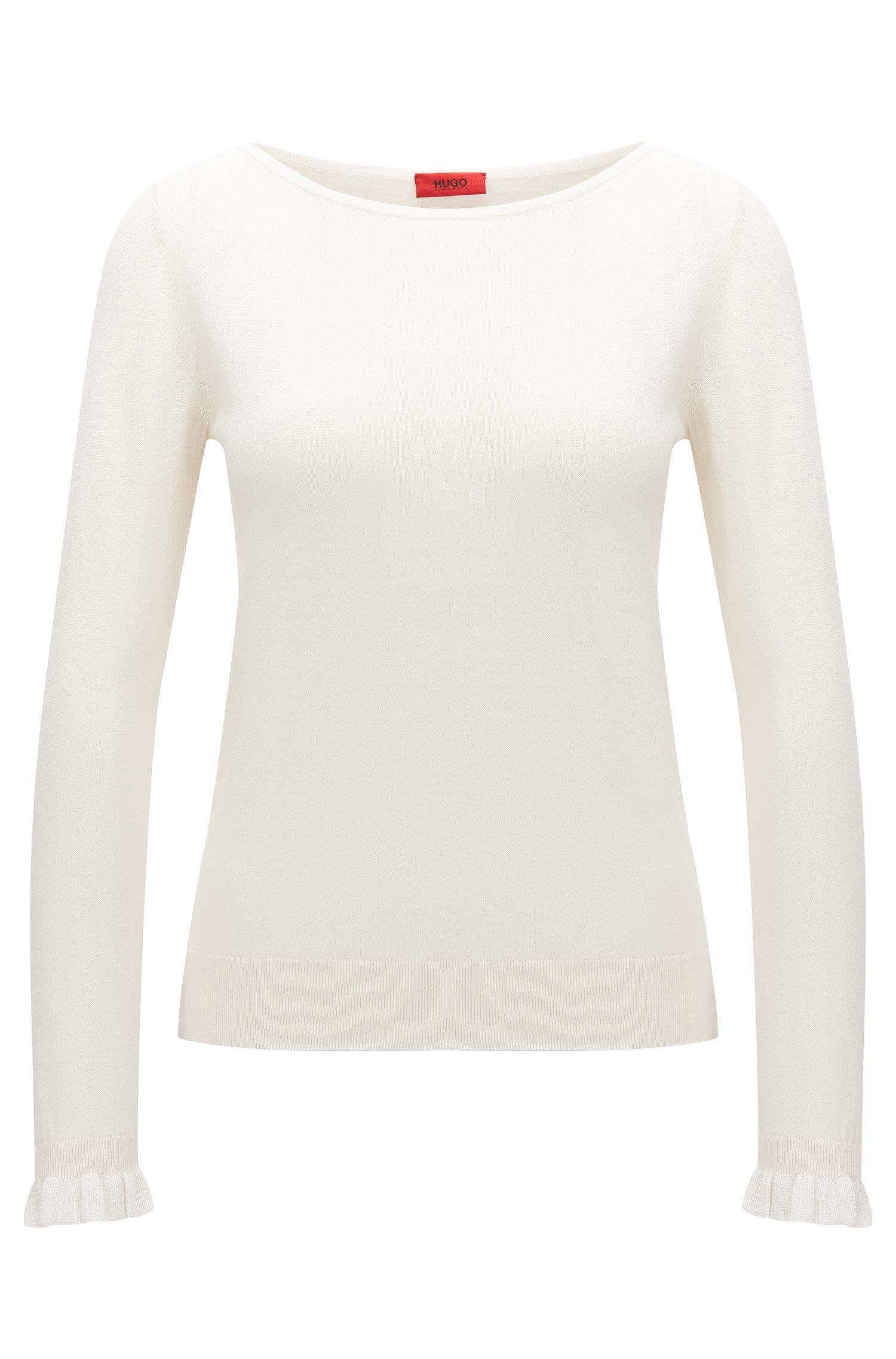 Jersey de cuello redondo en seda y algodón