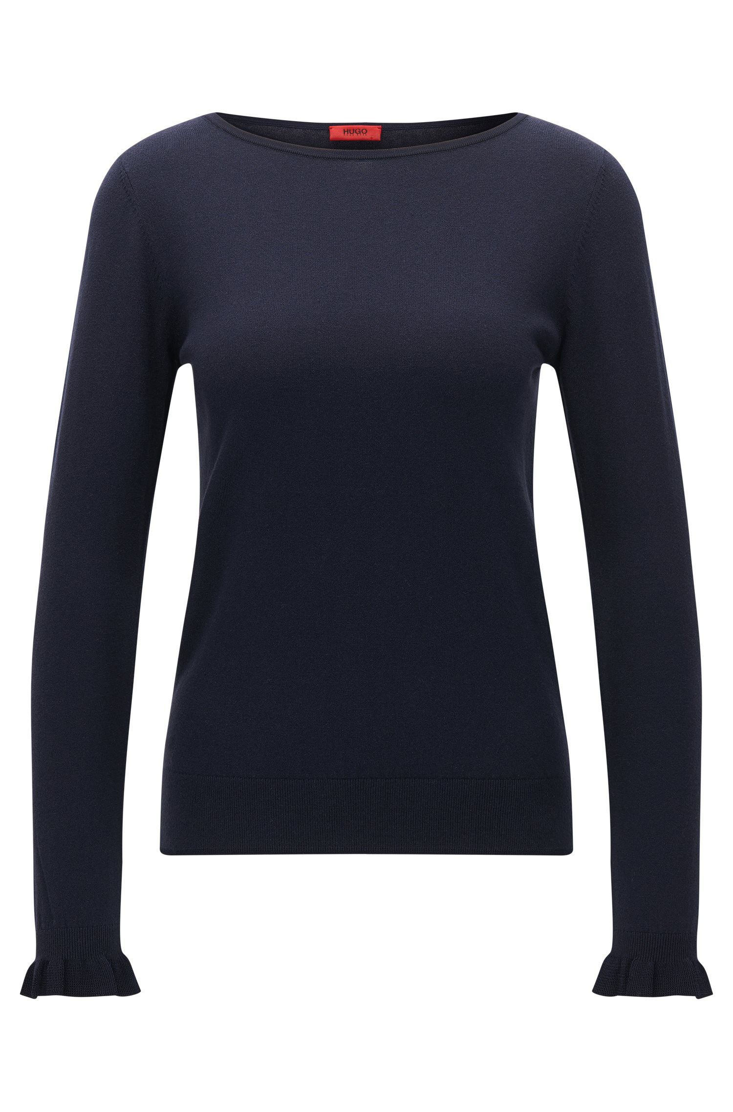 Crew-neck sweater in silk and cotton