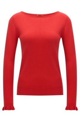 Crew-neck sweater in silk and cotton, Red
