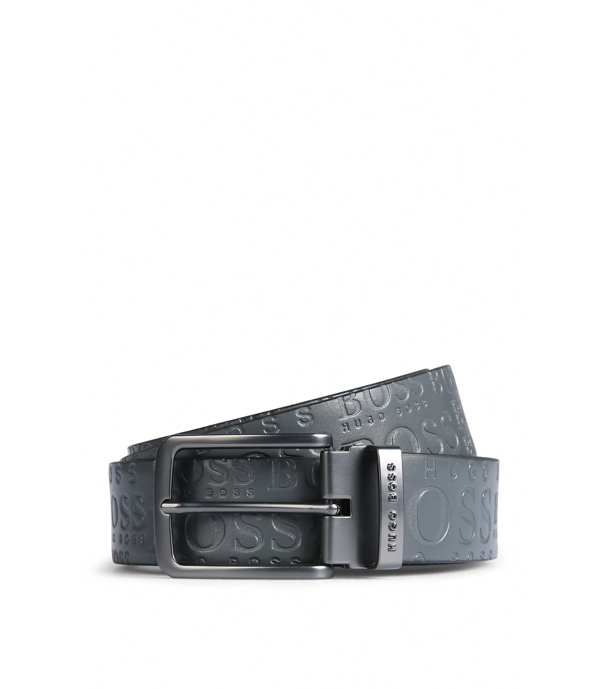 Ledergürtel mit Logo-Prägung auf der kontrastfarbenen Rückseite, Schwarz