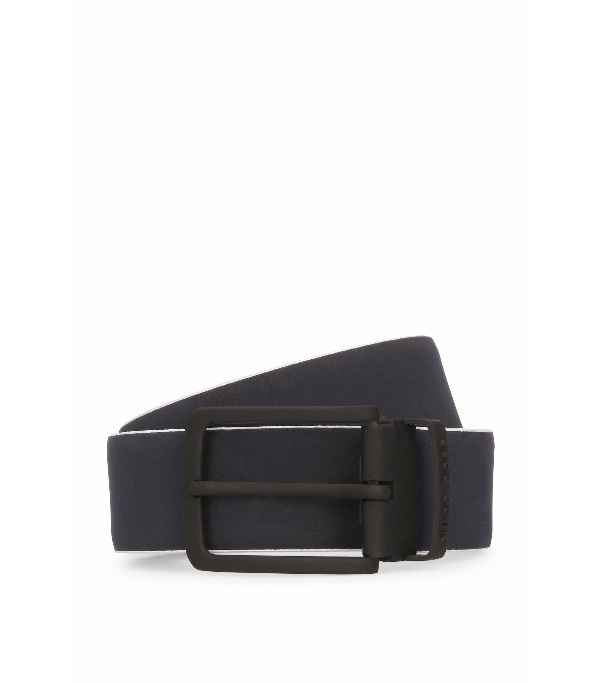 Leather belt with contrast logo-detail reverse, Dark Blue
