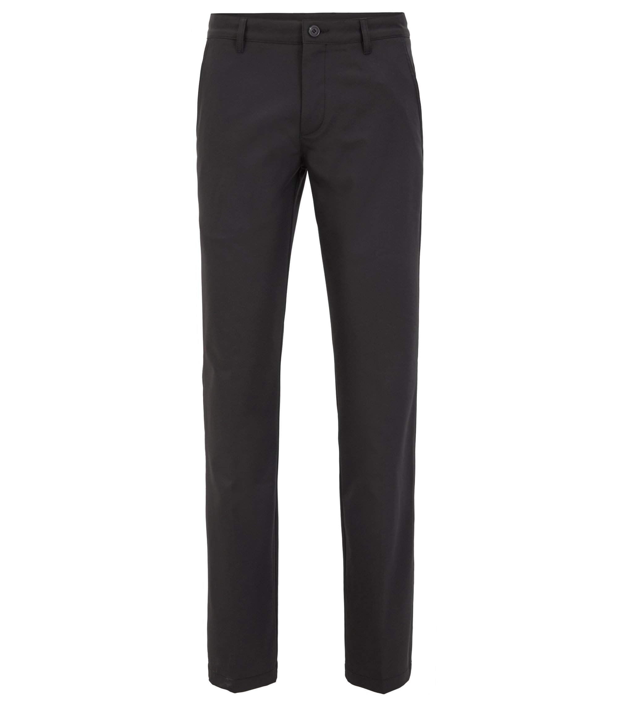 Slim-fit golf trousers in technical twill, Black