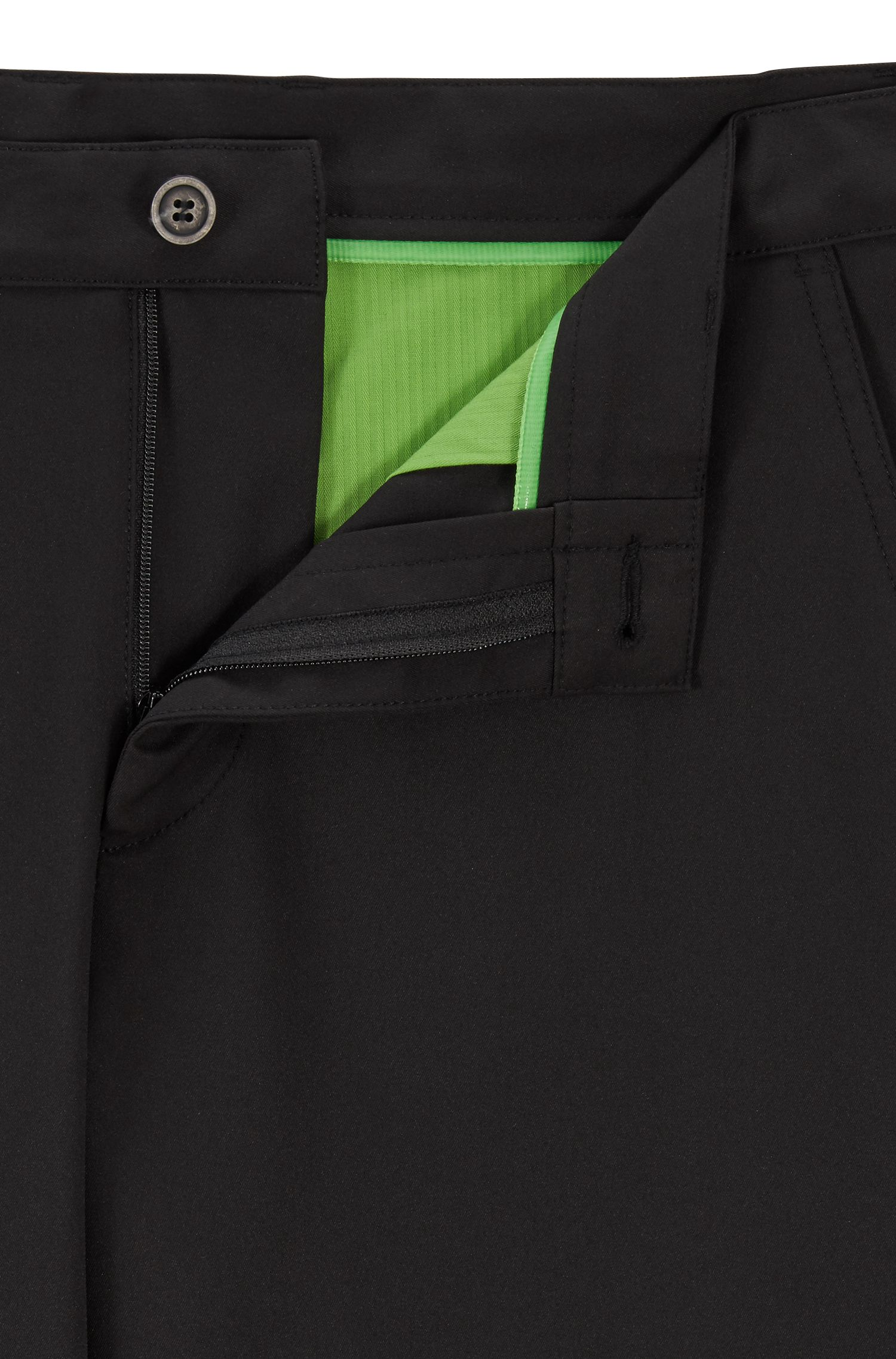 Slim-fit golfbroek in technisch twill, Zwart