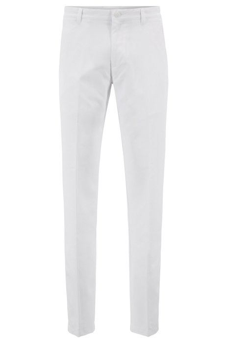 Pantaloni da golf slim fit in twill tecnico, Bianco