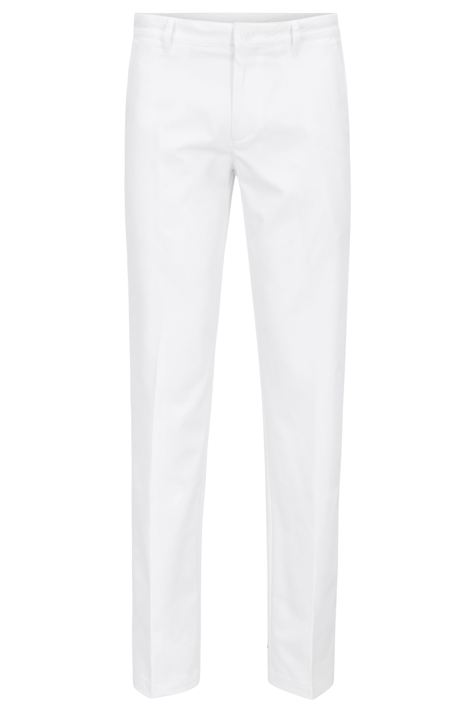 Slim-fit golf trousers in technical twill, White
