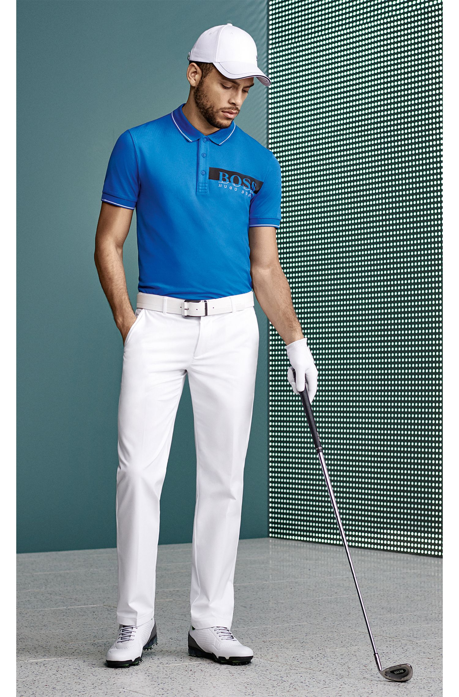 Slim-Fit Golfhose aus Material-Mix