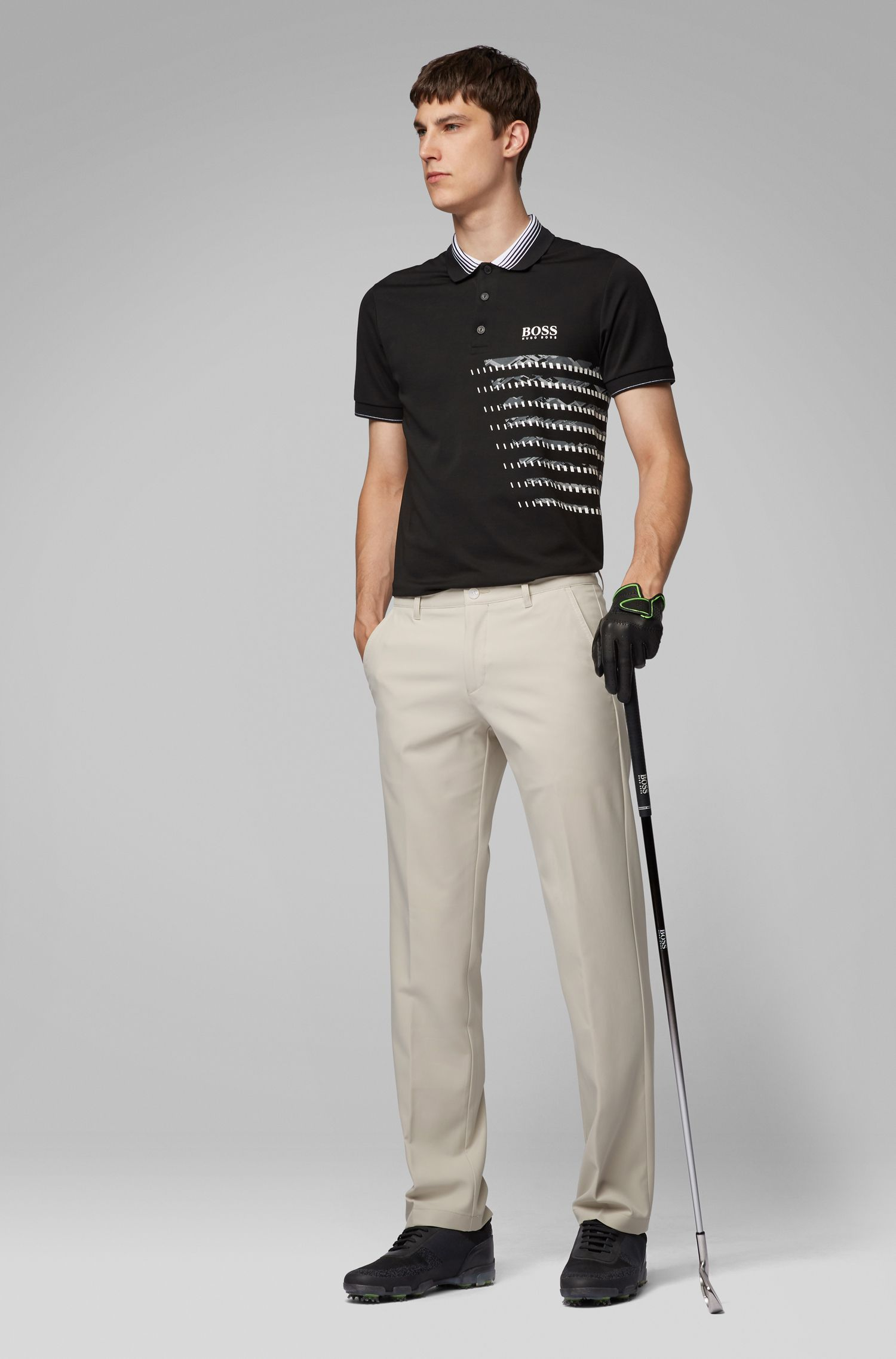 Slim-Fit Golfhose aus Material-Mix, Hellbeige