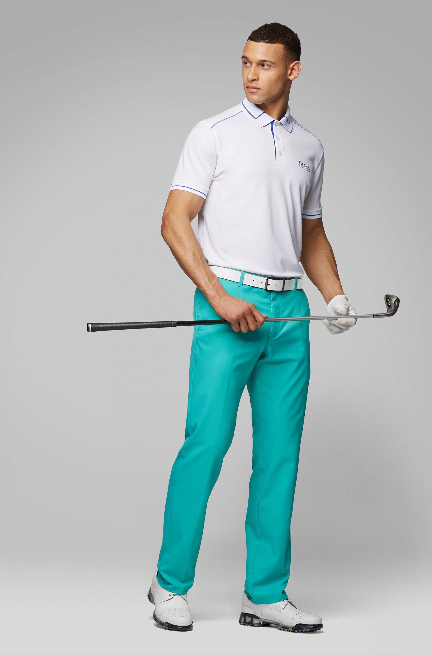 Pantalon de golf Slim Fit en twill technique, Chaux