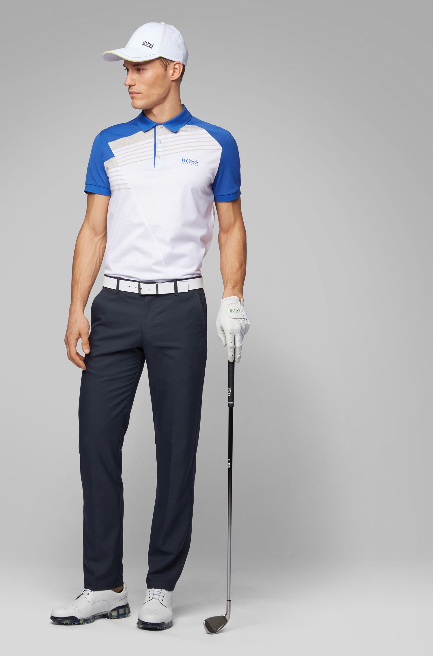 Slim-fit golf trousers in technical twill, Dark Blue