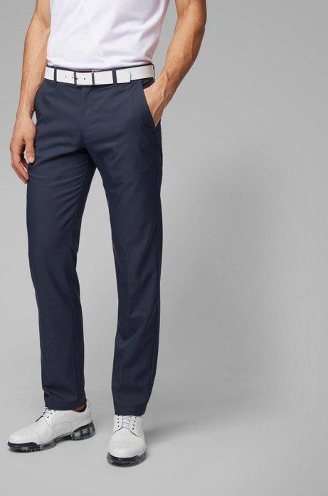 Slim-fit golf trousers in technical twill, Dark Blue