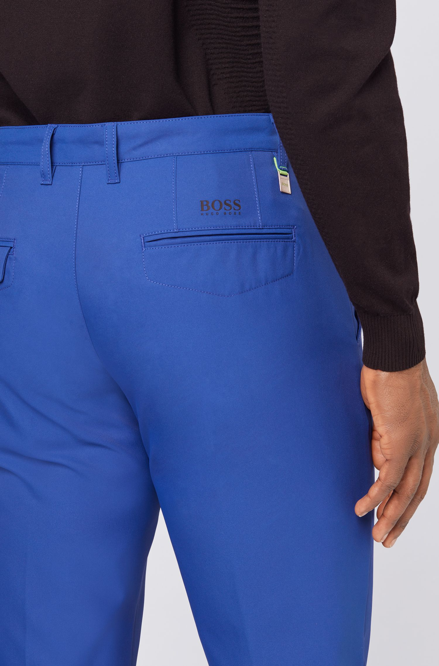 Slim-fit golf trousers in technical twill, Blue