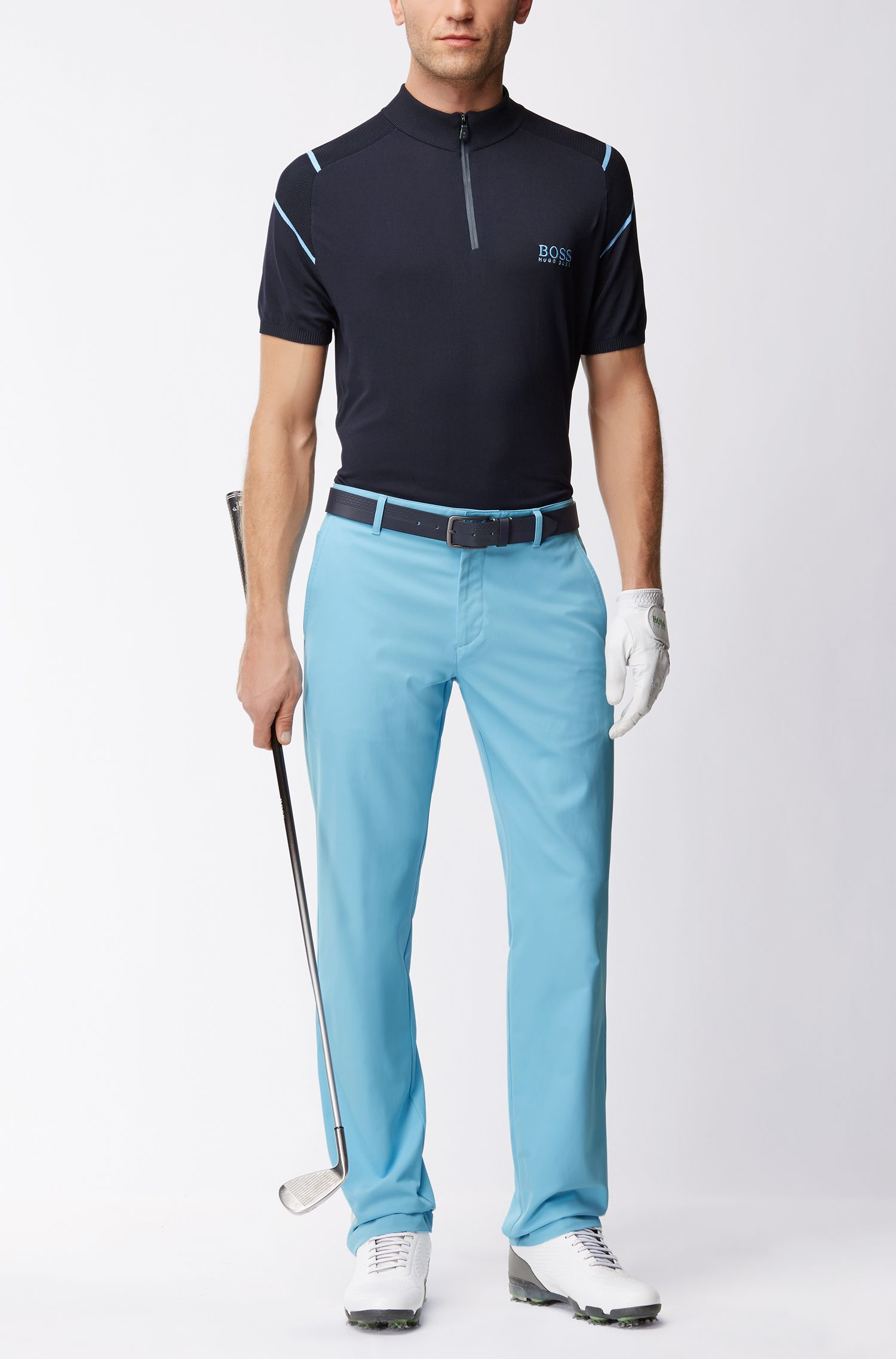 Pantalon de golf Slim Fit en twill technique, Bleu vif