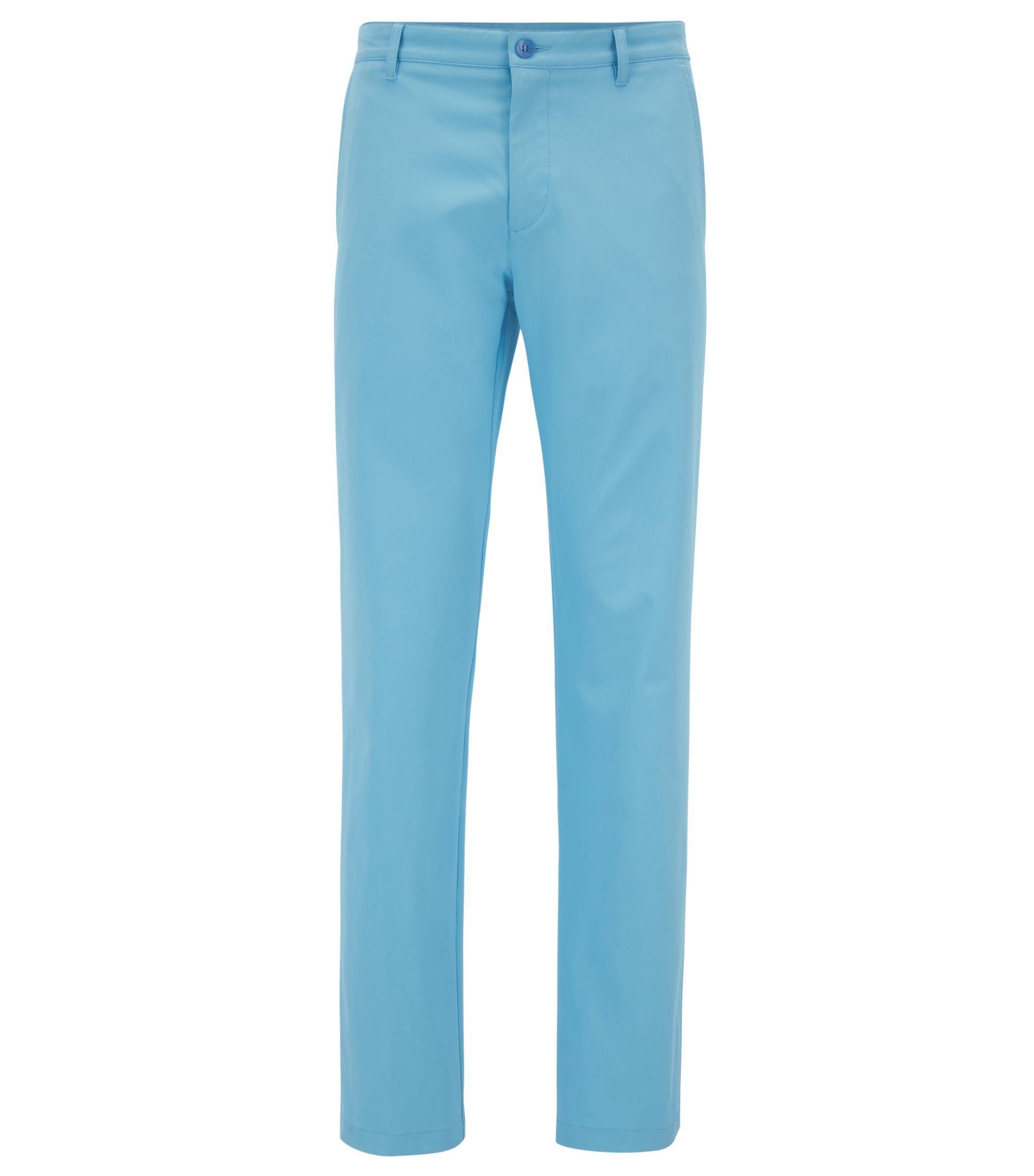Slim-fit golf trousers in technical twill, Light Blue