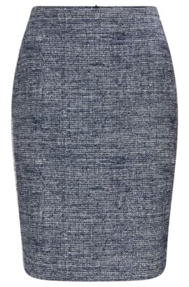 Regular-fit pencil skirt in cotton-blend, Dark Blue