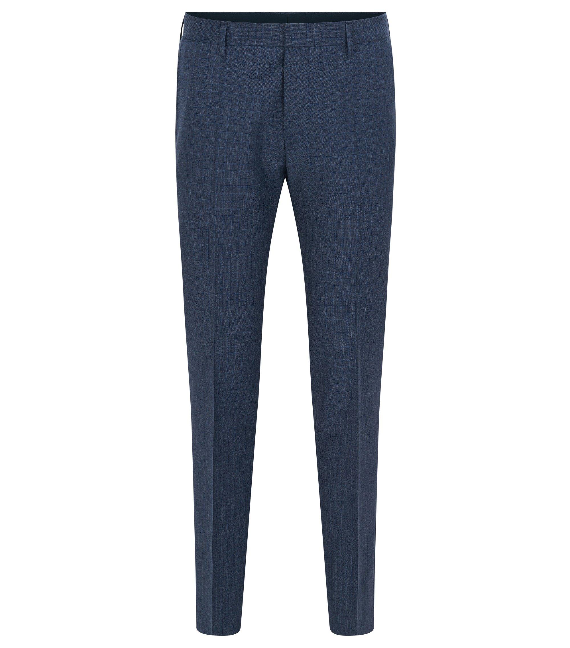 Slim-fit broek van scheerwol met ruitdessin, Donkerblauw