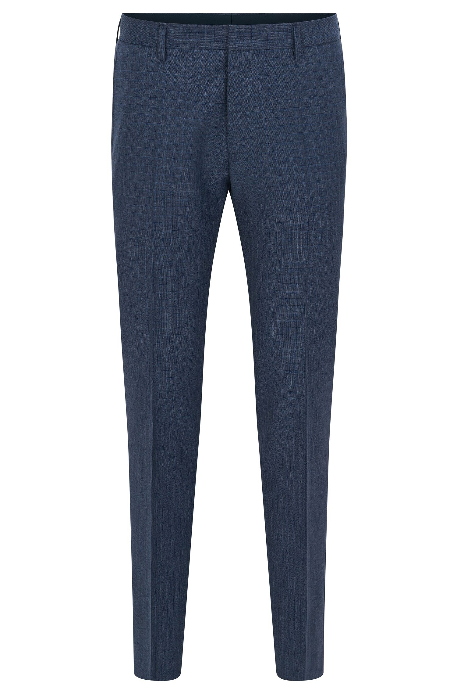 Slim-fit checked trousers in virgin wool