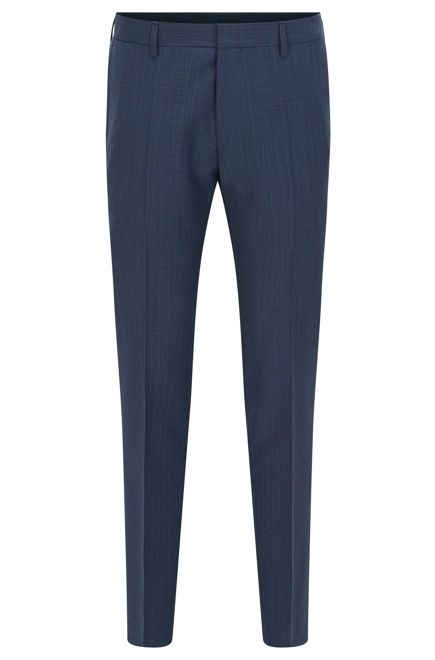 Slim-fit checked trousers in virgin wool