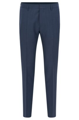 Slim-fit checked trousers in virgin wool, Dark Blue