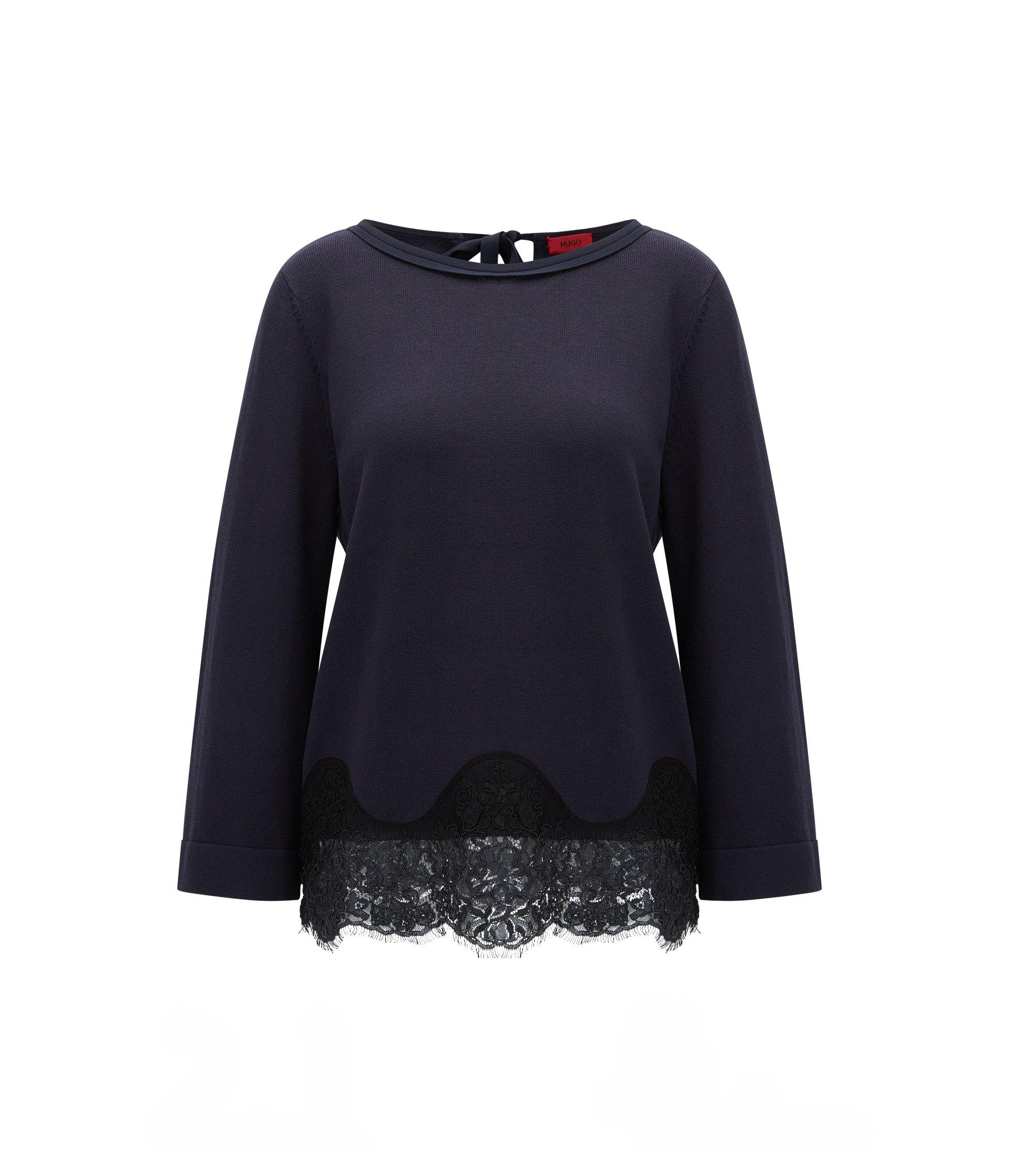 Regular-Fit Pullover aus Seide und Baumwolle, Dunkelblau