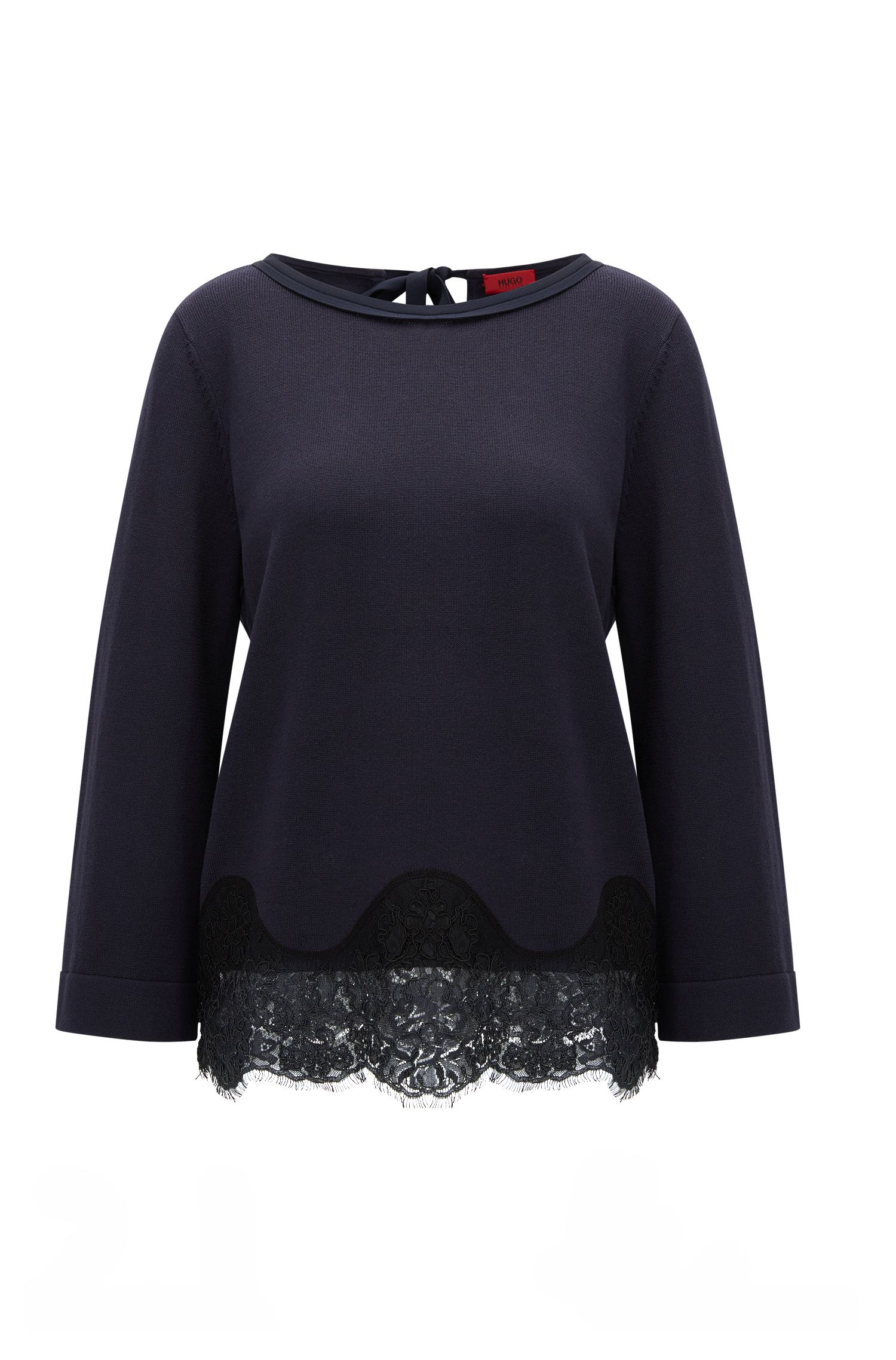 Regular-fit sweater in cotton and silk
