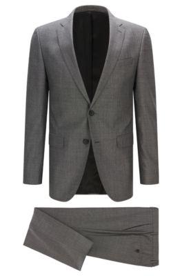 Slim-Fit Anzug aus Schurwoll-Mix, Dunkelgrau