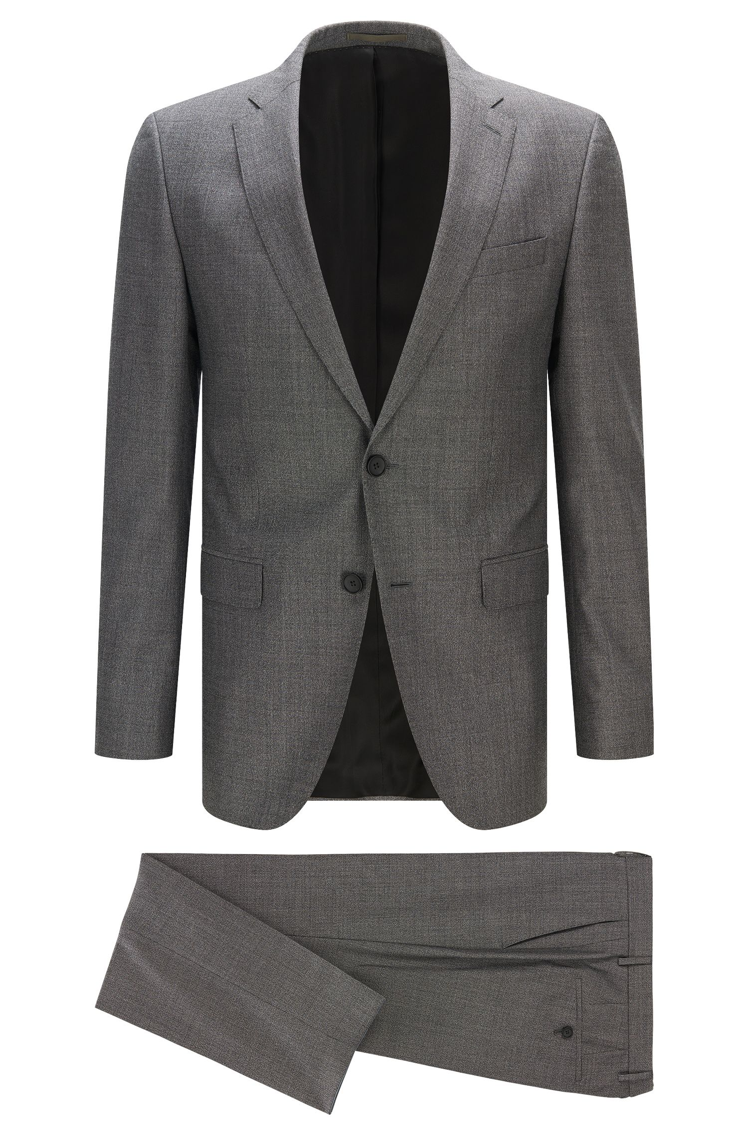 Slim-fit suit in mouliné wool blend
