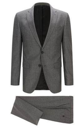 Slim-fit suit in mouliné wool blend, Dark Grey